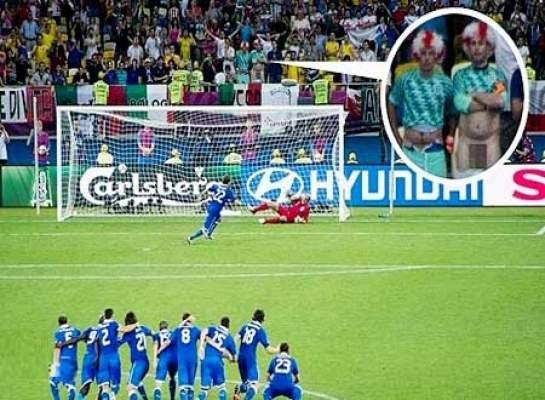 "Photo of مشجع بريطاني يخلع سرواله لإرباك ضربة جزاء لاعب إيطاليا ""ديامنتي"""