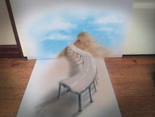 Photo of دون أن يستخدم أية خدع مادية: فنان يرسم رسومات ثلاثية الأبعاد بالقلم والورق فقط