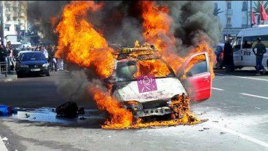 Photo of احتراق سيارة أجرة صغيرة بالبيضاء