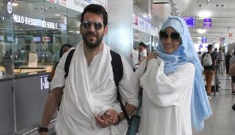 فيديو وصور: ملكة جمال المغرب وزوجها الممثل التركي يتوجهان لأداء مناسك الحج