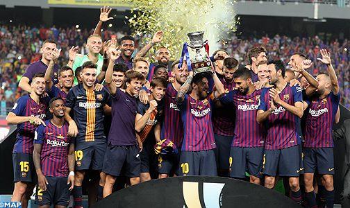 طنجة بالفيديو: لحظات فوز فريق برشلونة يفوز بالكأس الإسبانية الممتازة