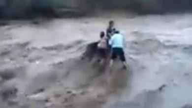Photo of فيديو ليس لضعاف القلوب .. سيل قوي يجرف 5 أشخاص من أعلى الشلال
