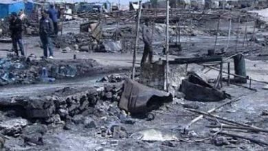 "Photo of حريق مهول بقرية الصيد ""انتيريفت"" شمال مدينة الداخلة"