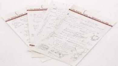 Photo of مخطوطة لاشهر اغاني بوب ديلان للبيع في مزاد