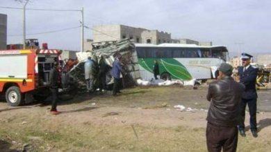 Photo of اصابة 16 راكبا في اصطدام بين حافلة لنقل الركاب وشاحنة ببني ملال